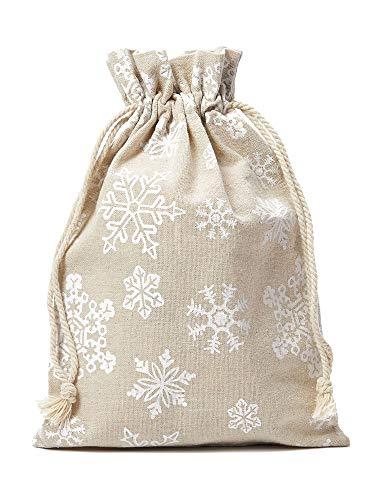 12 Leinensäckchen, Leinenbeutel mit Schneeflocken-Motiv und Baumwollkordel zum Zuziehen, Adventskalender, Geschenkverpackung, Weihnachtsbeutel, Schnee (20x12cm)