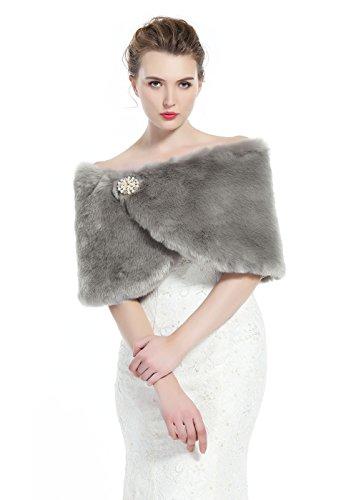 buenos comparativa Hermosa bufanda femenina robada por un bolero de piel para dama de honor en una boda de fiesta de invierno (gris) y opiniones de 2021