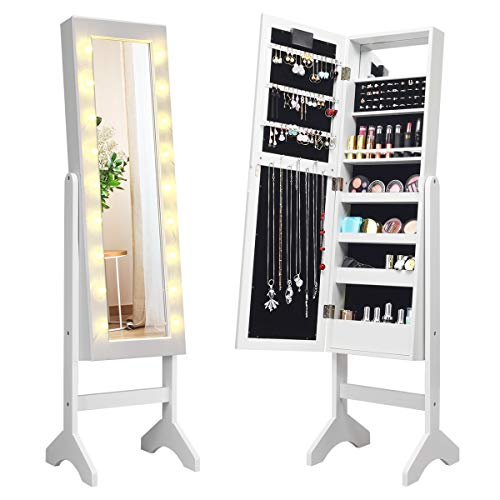 Giantex Standing Jewelry Armoire with 18 LED Lights Around The Door, Large Storage Mirrored Jewelry Cabinet with Full Length Mirror, 16 Lipstick Holder, 1 Inside Makeup Mirror (White)