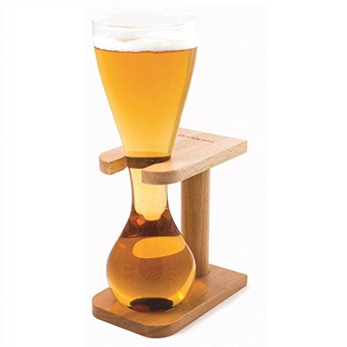 CKB Ltd® Quarter Yard Tall Ale Glass met Smart Birch Wood Stand Holder Kwak bierglazen bierglas met houten standaard - U kunt dit hoge sleek glas tot de rand vullen - Vermijd snel vloeiend bier Zoals u net voor het einde geproduceerde In stijlvolle borosilicaatglas - capaciteit 400 ml