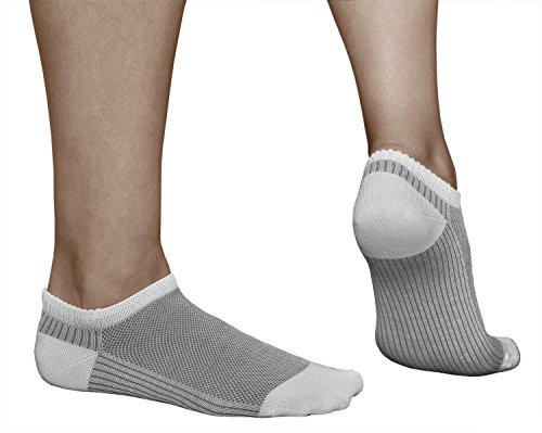 vitsocks 3 Paar Damen kurze Sneaker Socken, extreme atmungsaktiv & leicht, MERCERISIERTE BAUMWOLLE, Weiß mit Rot Türkis Grau, Sneaker, 35-38