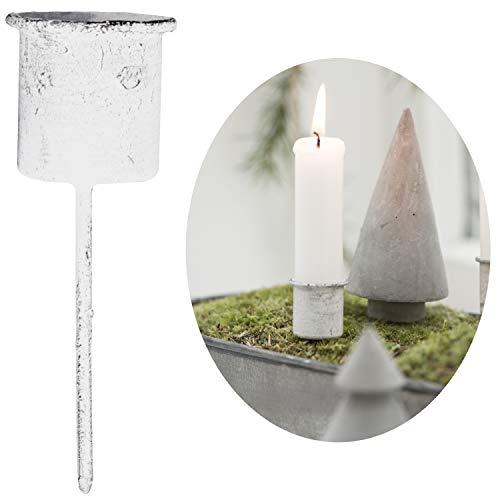 LS-LebenStil Stabkerzen-Halter Weiß 8cm Metall Spieß Kerzenständer Kerzenleuchter