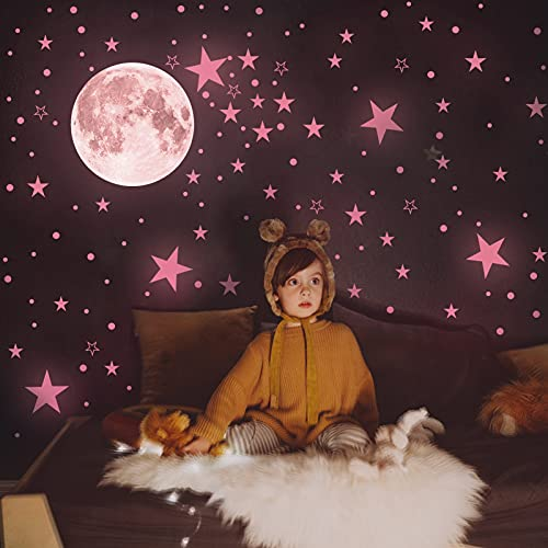 Glow in The Dark Stars for Ceiling - Large Glow in The Dark Stars and Moon Wall Decals 246pcs,...