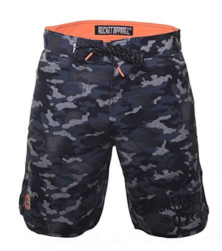 ROCK-IT Apparel® Badeshorts für Männer [Größen: S-3XL] - Grüne Badehose für Herren - Angenehme Camouflage Boardshort - Perfekt für den Strand, Pool oder Freibad - Camo Grün