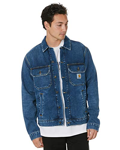 Carhartt I027977 Stetson Jacket Blue Mid Worn Wash Giacca in Jeans Uomo (XL)