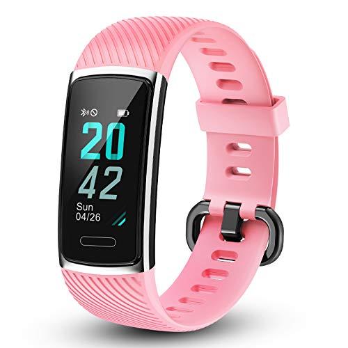 LETSCOM Fitness Tracker mit IP68 Wasserdicht Pulsmesser, Fitness Armband Kalorienzähler Schrittzähler Aktivitätstracker Schlafmonitor, Farbbildschirm Fitnessuhr für Frauen Männer
