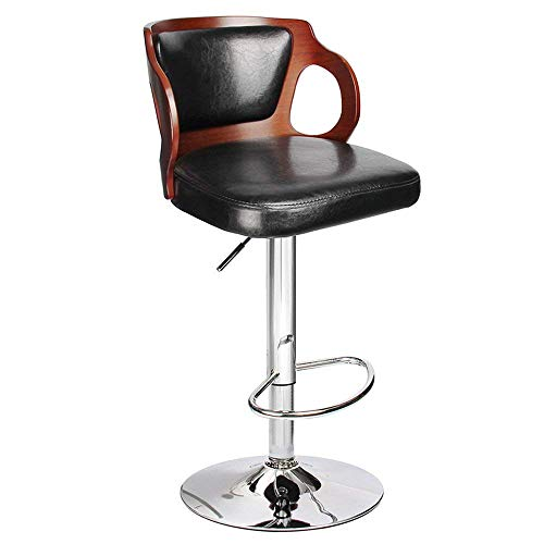 Homall Bar Stools Walnut Bentwood Adjustable Height Leather Modern Barstools with Back Vinyl Seat Extremely Comfy Bar Stool 1 Piece Black