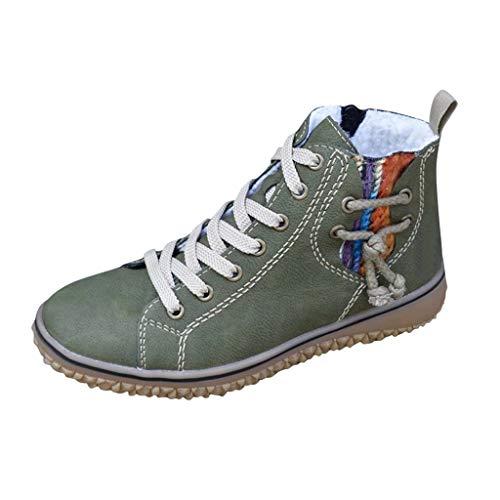 Stivaletti Stivali Sneakers Donna Calda Taglie Forti Scarpe Basse Casual con Zeppa Stivali Corti alla Caviglia (40,Verde)