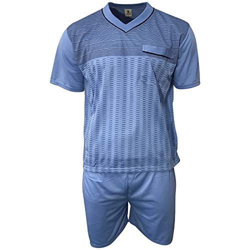 Lavazio Herren Schlafanzug kurz Shorty T-Shirt Bedruckt Hose Uni Qualität, Größe:2XL, Farbe:blau