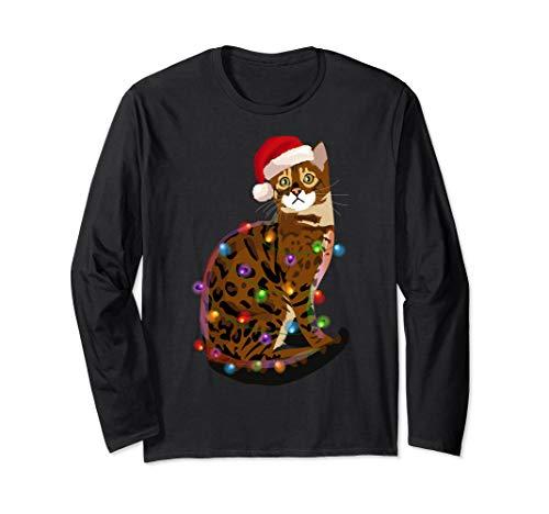Bengal Cat Christmas Lights Xmas Cat Lover Long Sleeve T-Shirt
