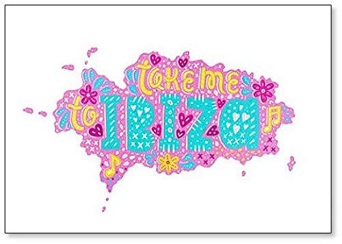 """Imán para nevera con diseño de frase en inglés""""Take Me to Ibiza Hippie"""""""
