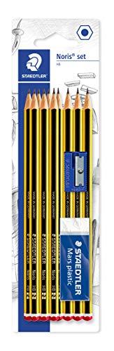 Staedtler Noris 120-120S1BK10D. Lápices de madera certificada. Caja de 10 unidades con goma y sacapuntas