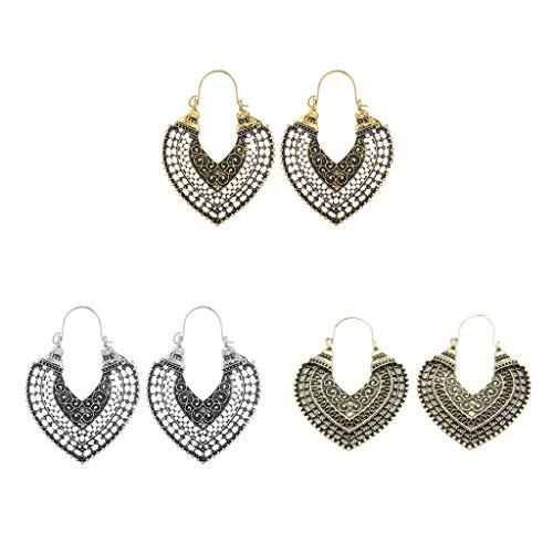 lahomia 3 Pairs Women Fashion Retro Style Hollow Dangling Hook Earrings