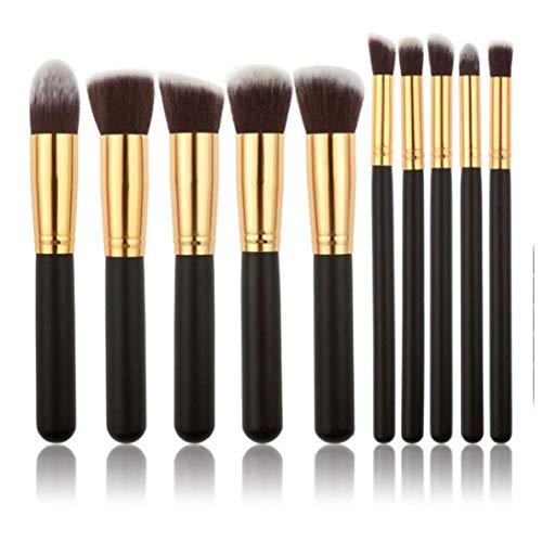 10pcs Maquillage Pinceaux Fond de teint Pinceaux professionnels poudre fard à paupières Blending Correcteur cosmétiques Outils Brosses Kit - Black & Gold