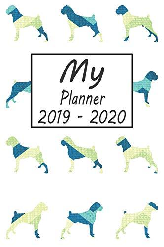 My Planner 2019 - 2020: Boxer Dog Blue Pattern Weekly Planner 2019 - 2020: 24 Month Agenda - Calendar, Organizer, Notes, Goals & To Do Lists