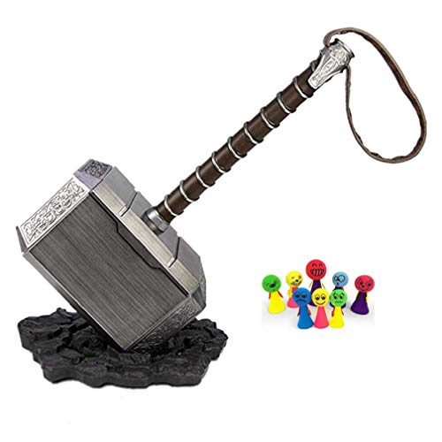 damdos 1:1 Martillo de Thor's Hammer Thunder Hammer+ Stand Base ABS Plastics Halloween Cosplay Collection Model Kids Birthdays Gifts