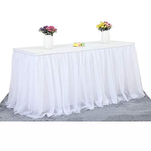 Tüll-Tischdecke, Tischrock für Party, Hochzeit, Bankett, Zuhause, Dekoration, knitterfreie Tischdecke für Weihnachtsfeiern, von Best of Best weiß