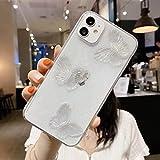 Jorisa Coque Transparent Paillettes Compatible avec iPhone 11 6.1 Pouce,Mignon 3D Cristal Papillon...