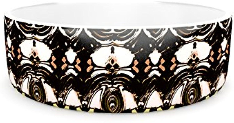 Kess InHouse Dawid Roc The Palace Walls  Brown Black Pet Bowl, 7