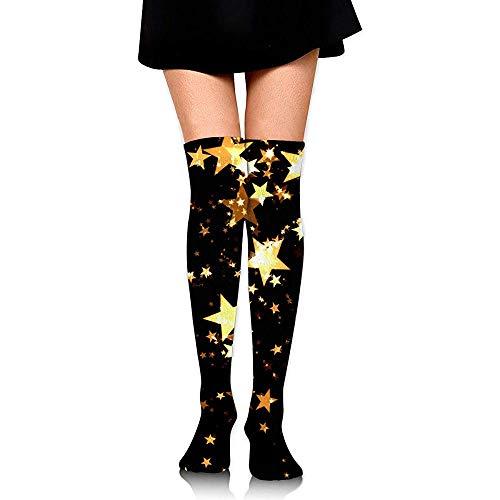 BK Creativity Calcetines,Christmas Glam Balck Y Gold Star Calcetines Decorativos Unisex De Moda Para Viajes Running Climing 65cm