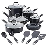 Anolon Advanced Hard Anodized Nonstick Cookware Pots and Pans Set, 11 Piece, Onyx