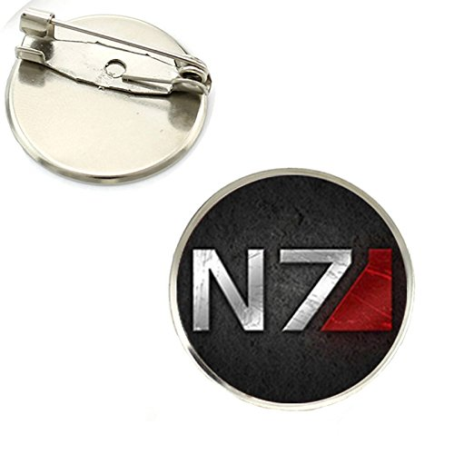 Patch Nation N7 Mass Effect Cosplay Runden Metall Pin Badge (N7 Schwarz)