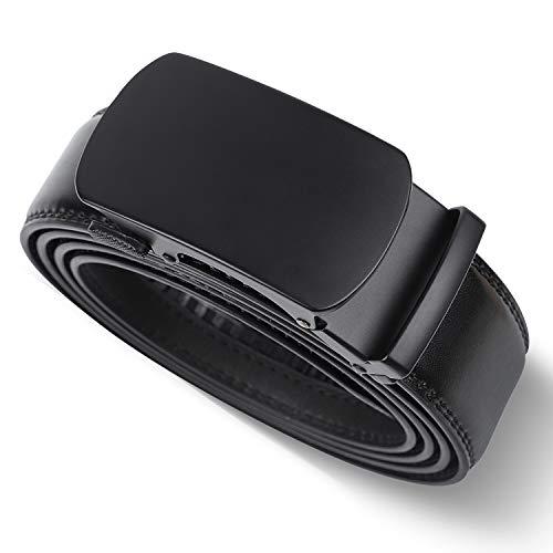 LAKIDAY Cinturon Cuero Hombre, Cinturones Automatico Negro Sencillo y Clásico 35mm, 04-115CM