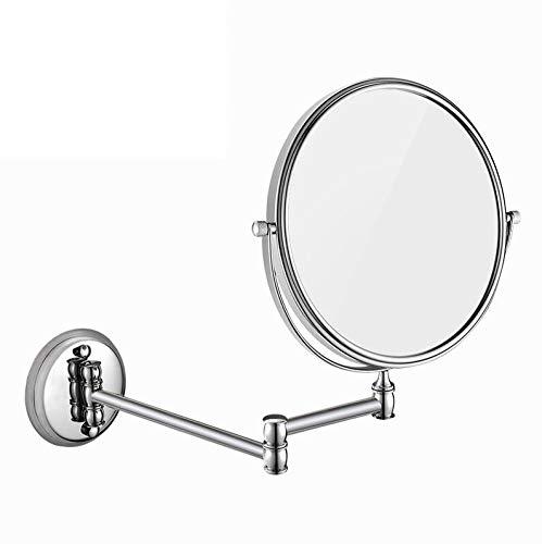 Bath Miroirs grossissants fixés au Mur de miroirs de Salle de Bains, miroirs de Maquillage Se pliants à Double Face d'acier Inoxydable, Miroir grossissant 3X,