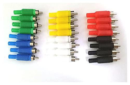 Adaptador Jack 24pcs 6 Color RCA Conector de Cable de Audio Tipo Soldadura de Enchufe