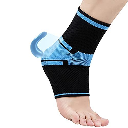 Glsety Kompressions-Knöchelbandage mit Silikon-Gel-Polster, schienbeinschoner mit knöchelschutz zur Schmerzlinderung bei Plantarfasziitis, Achilles, reduziert Fußschwellungen,Links&rechts Fuß(M)