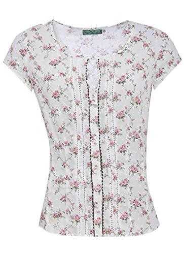 Country-Line Damen Trachten-Mode Trachtenbluse Gerti in Creme traditionell, Größe:34, Farbe:Creme
