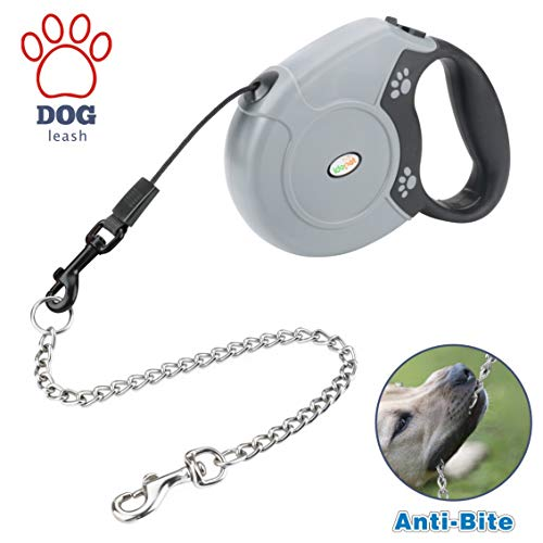 Idepet Heavy Duty Retractable Dog Leash for Small and Medium Dogs, Anti-Chewing Steel Chain Design,360 DegreeTangle-Free,Break and Lock System,16ft Leash for Dog Walking (Round Rope)