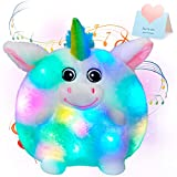 SpecialYou 10'' Musical Light up Unicorn Stuffed Animals LED Singing Animal Soft Plush Toy with Night Lights Lullabies Birthday for Toddler Kids (Music)