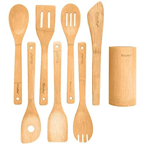 Set di Utensili da Cucina in Legno di Bamboo - Kit di 8 Accessori da Cucina (Paletta per Cucina, Spatola Pinze, Cucchiaio in Legno, Porta Mestoli) - Attrezzi Da Cucina in Bambù 100% Naturale Ecologico