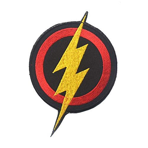 Ohrong De Flash Bolts Geborduurde Patch Badge DC Comics Kostuum Outfit Borduurwerk Applique voor Caps Jeans Tassen Jassen met Haak&Loop Achterkant