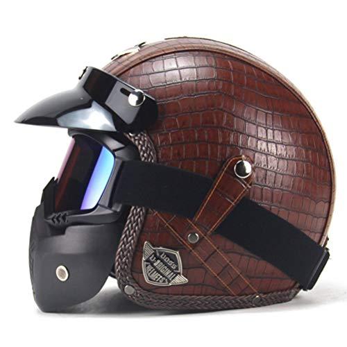 Jethelme für Erwachsene Motorrad Lederhelme Chopper Fahrradhelm Jethelme mit Schutzbrille