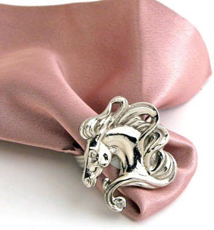Nickel Horse Head Napkin Ring Set Of 4