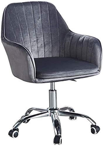 Silla de escritorio de terciopelo con brazos, moderna silla de oficina tapizada altura ajustable giratoria silla de trabajo con base de metal para tocador/reunión/hogar/estudio-gris oscuro