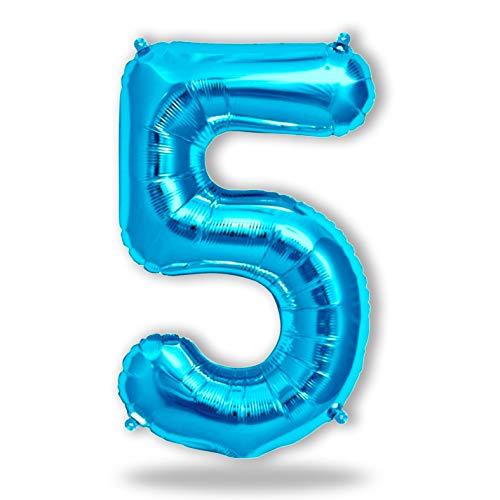 FUNXGO® Folienballon Zahl in Blau - XXL /ca.100cm Riesenzahl Ballon - Folienballons für Luft oder Helium als Geburtstag, Hochzeit , Jubiläum oder Abschluss Geschenk, Party Dekoration (Blau[5])