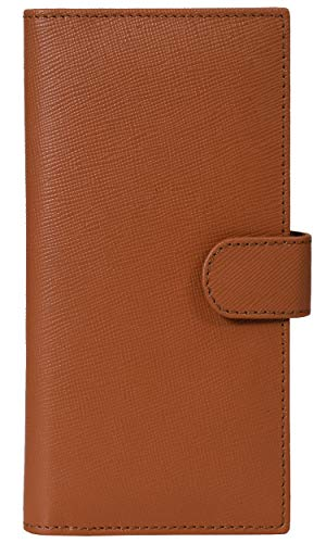 Leather Checkbook Cover RFID Wallets For Women Duplicate Check Card Pen Holder (Ginger Bread)