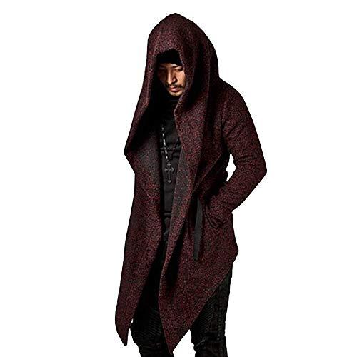 ADELINA 2019 Mode Winter Koop Hoodie Sweatshirt voor Heren Capuchon Vest Jassen Modieuze Completi Heren Herfst Winter Lange Mantel Bovenkleding Hooded Zwarte Wijn Rood