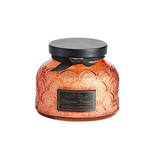 CAODANDE Aromatherapie kaars reliëf veren glazen container Plant etherische olie rookloos naar geur romantische geschenkdoos kan branden 50h kaars