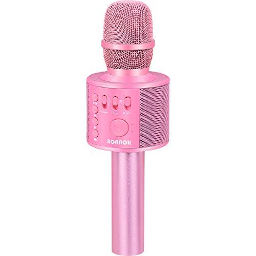 BONAOK Karaoke Mikrofon, 3 in 1 Kabelloses Bluetooth Mikrofon, Kinder Mikrofon Lautsprecher Maschine, Tragbares KTV Mikrofon für zu Hause, Kompatibel mit IOS Android Bluetooth Geräten(Rosa)