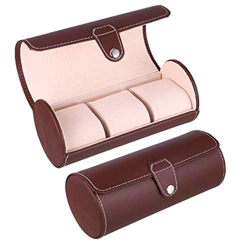 Draftor Watch Roll Organizer, Watch Jewellery Display Storage Box Case for 3 Watches, Faux Leather Black/Brown Watch Case for Men and Women(Brown)