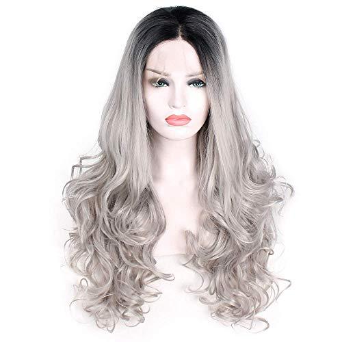 LDSBGJ Vrouwelijke pruik voorkant verven met lang krullend haar en grote golven