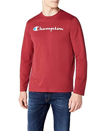 Champion Camiseta de Manga Larga Classic Logo, Rojo, M para Hombre