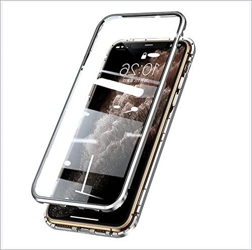 XWCG Funda para iPhone 13 Mini/13/13 Pro/13 Pro MAX Proteccion Funda con Anti-Peep Vidrio Templado Cover Metal Bumper Cubierta Cover,Plata,13 Mini