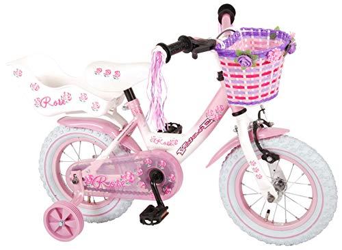 L&E 12 Zoll Fahrrad Rücktritt Stützräder Korb Kinderfahrrad Mädchen Pink Rose 81203