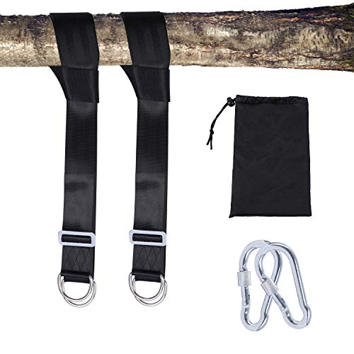 REDCAMP 185-360cm Adjustable Swing Hanging Straps Kit, Swing Attachment, Hammock Strap Hook Hanging Kit, Tree Strap with Safe Screw Lock Carabiners for Indoor Outdoor Garden, Holds Up to 800kg