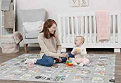 Extra Large: perfect for large or small spaces this mat can be adjusted to covers spaces up to 70-inches wide and 71-inches long. Made of highly durable and soft foam for the safety of your little one! Sensory and learning: design includes raised sym...